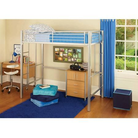 Yourzone Metal Loft Bed Twin Size Multiple Colors Walmart Com