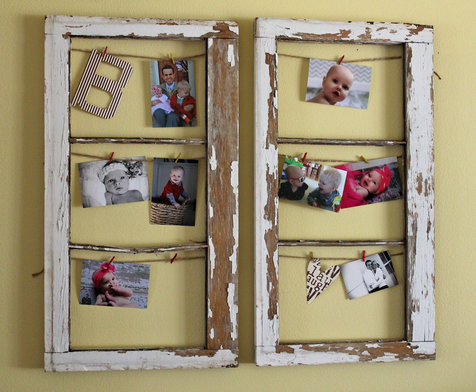 Old Window Frame Decor Old Window Projects Old Windows Turned Into Frames Diy