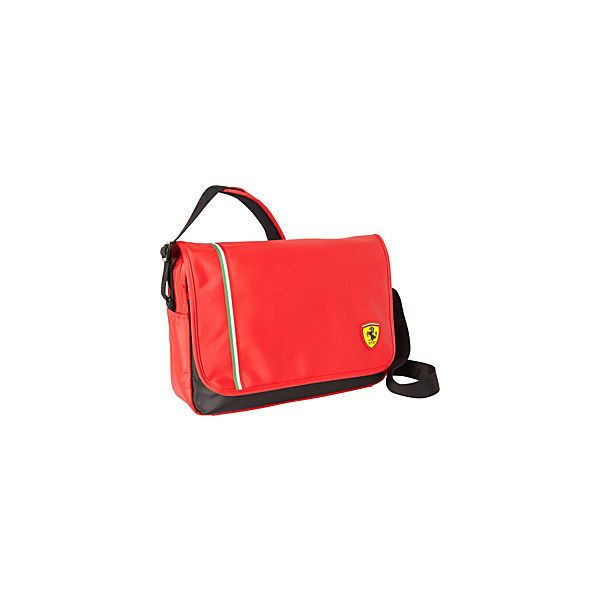 Ferrari Classic Messenger Bag - Red - Messenger Bags ($90) ❤ liked on Polyvore featuring men's fashion, men's bags, men's messenger bags and mens laptop messenger bags