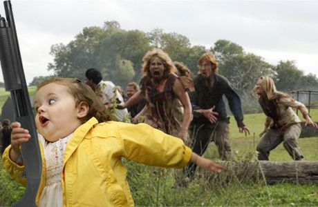 Chubby girl chasing