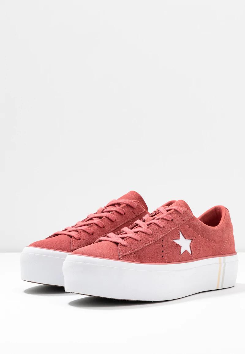 Converse One Star Platform Ox Sneakers WhiteDark ObsidianGym Red