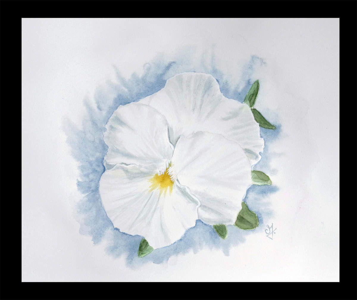Une Pensee Blanche Encre Blanche Aquarelle Et Peinture
