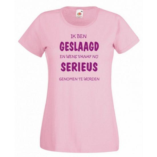 Extreem Leuk cadeau voor een diploma uitreiking, Geslaagd t-shirt roze #MF71