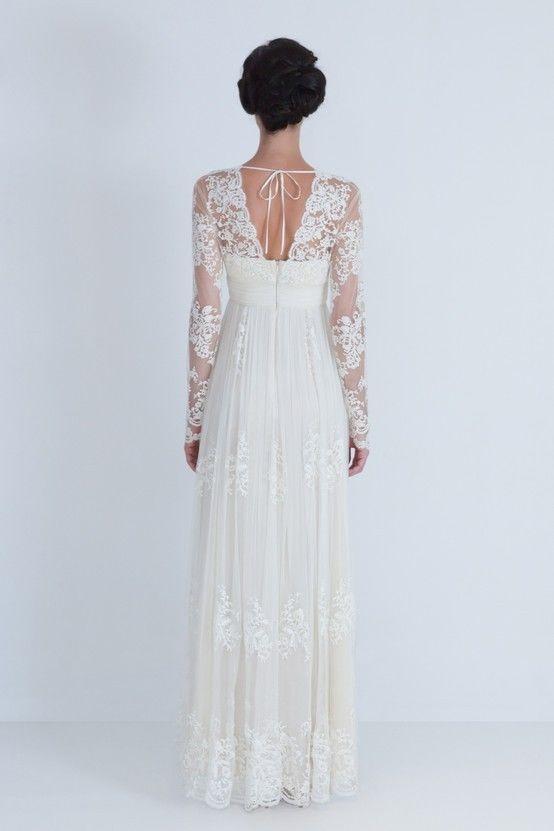 Vintage V-neck Spitze Hochzeitskleid Abendkleid Brautkleid Partei ...