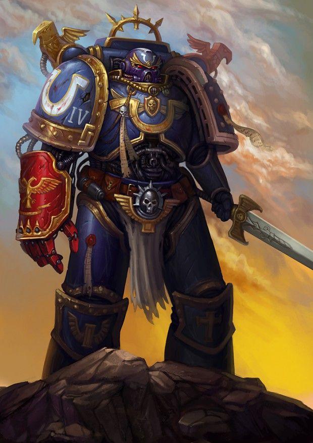 Ultramarine, left hand a force sword, right hand a power fist