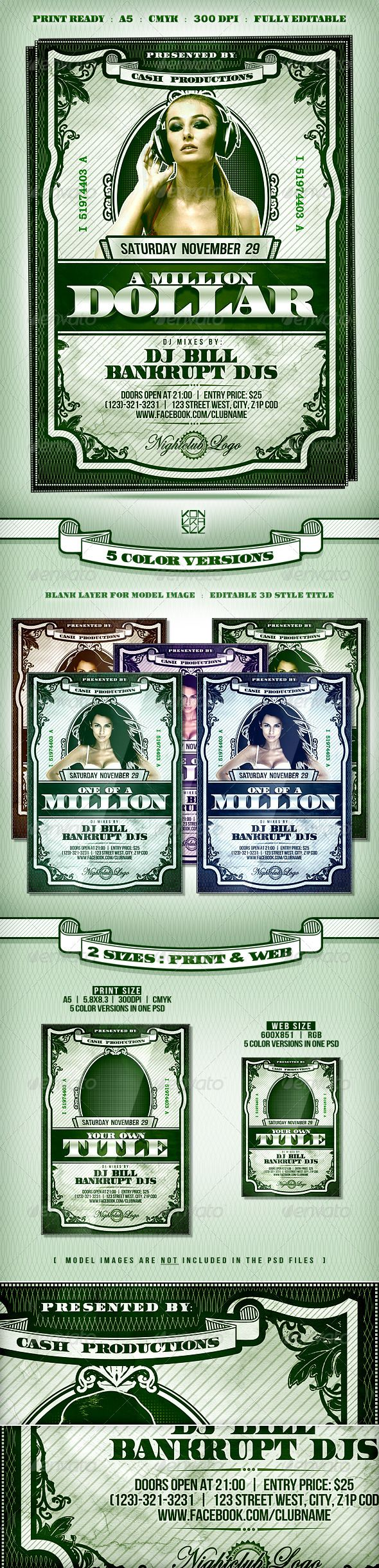 dollar flyer is a classic template based on the usdollar money bills design style which will promote your event in a rich and luxury way
