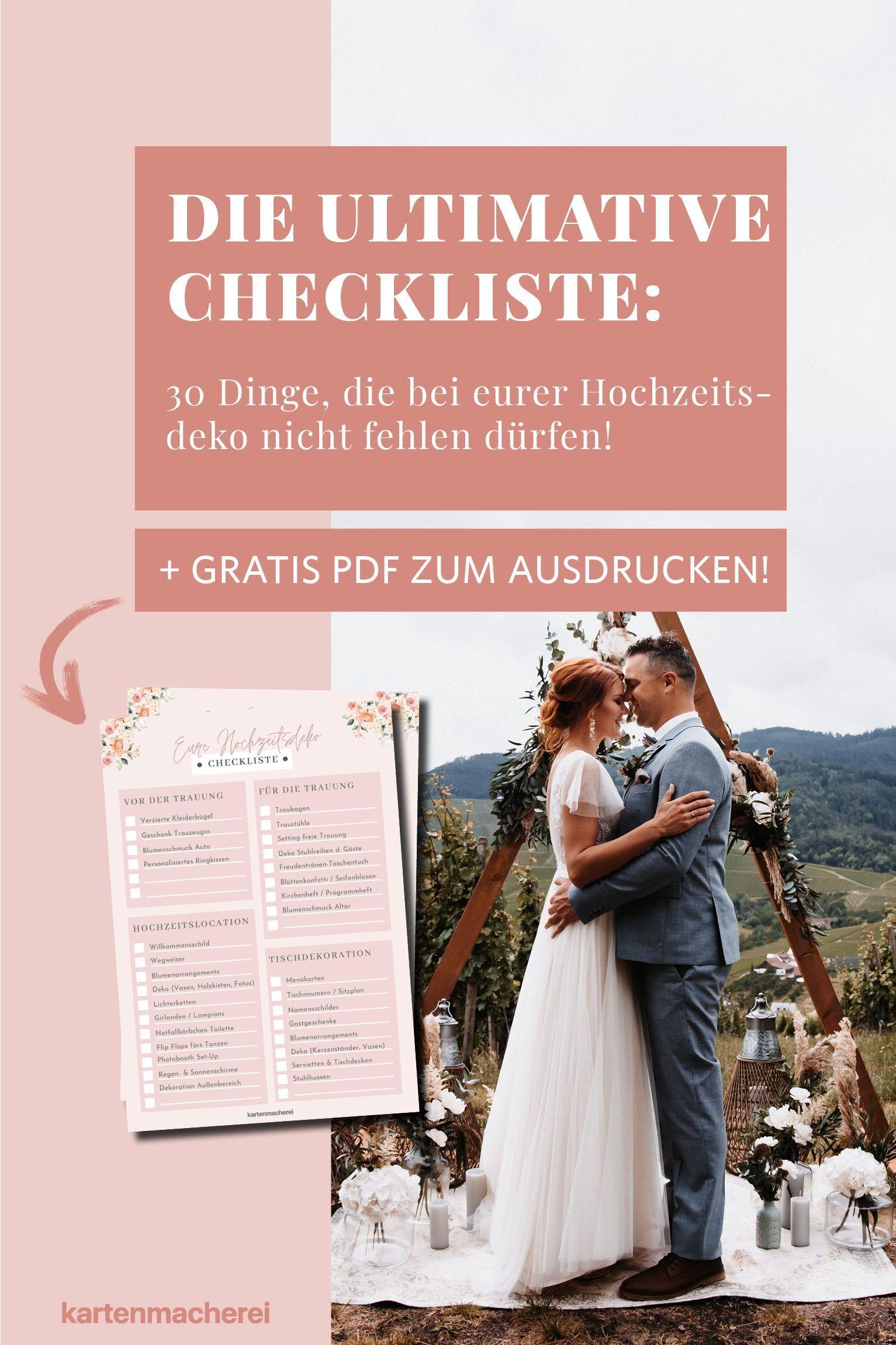 Hochzeitsdeko Checkliste Daran Solltet Ihr Unbedingt Denken Hochzeit Hochzeitsdeko Hochzeitsdekoration