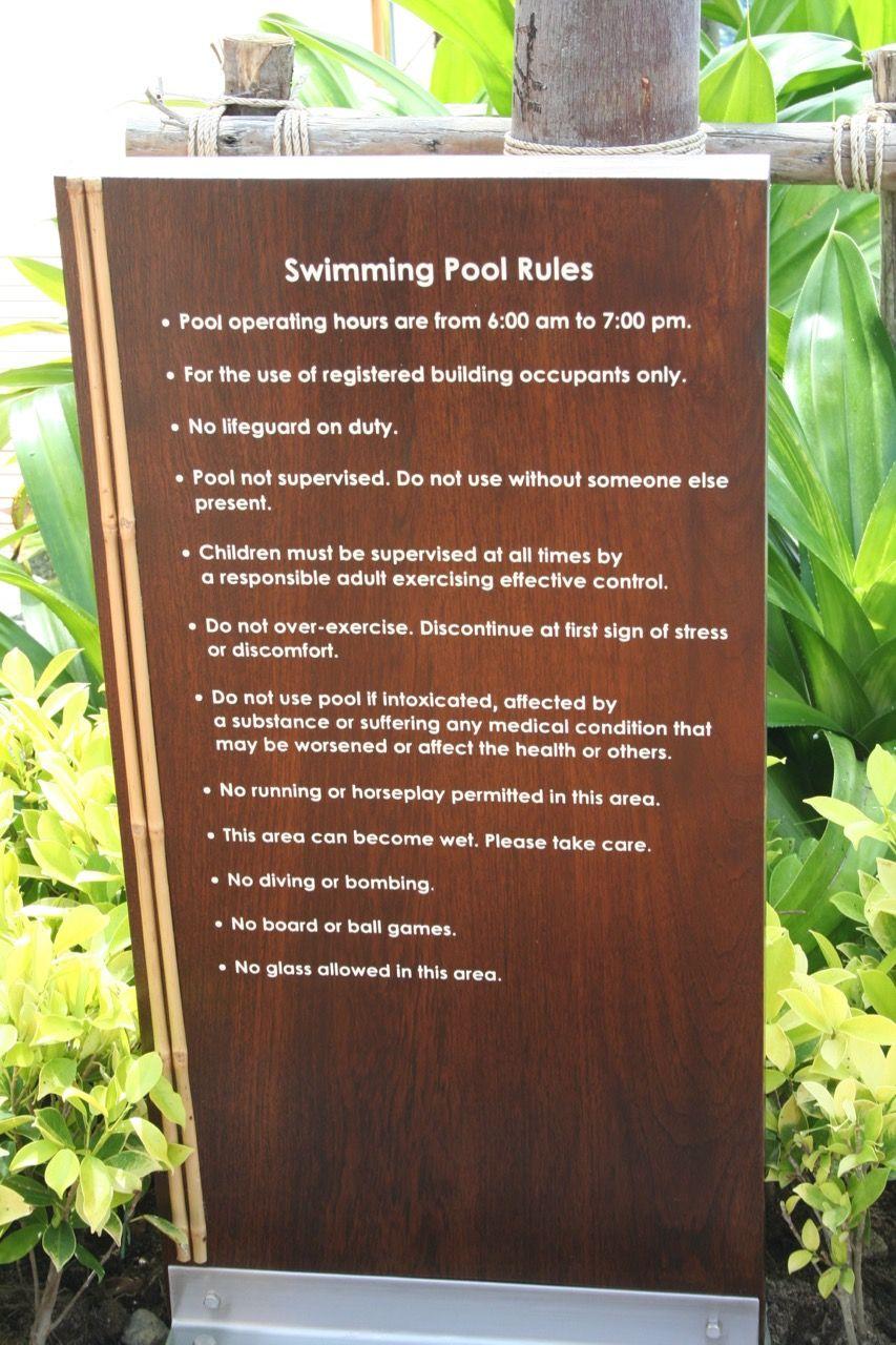Pool Regulations Pool Rules Swimming Pool Rules Signage