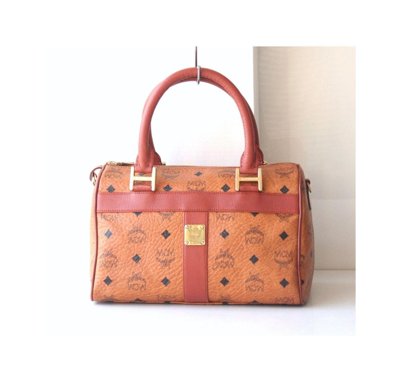 051ab983e39 MCM Bags Visetos Cognac Brown Monogram Boston vintage authentic handbag  purse 80 s by hfvin on Etsy  mcm  visetos  cognac  brown  handbag  monogram   vintage ...