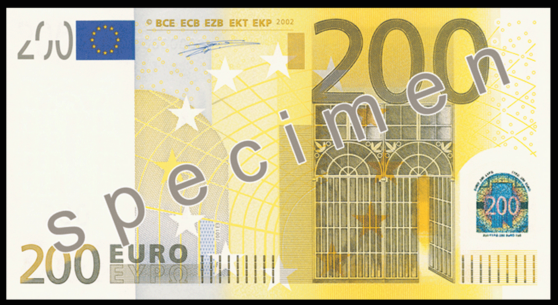 200 Euro Note Specimen Casa de papelao, Cores