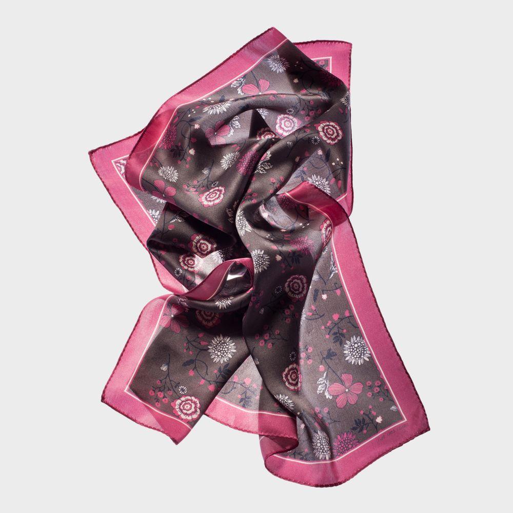 CARRÉ FLEURETTE MARRON FRAISE | rue des roses Printed silk square. Made in France.