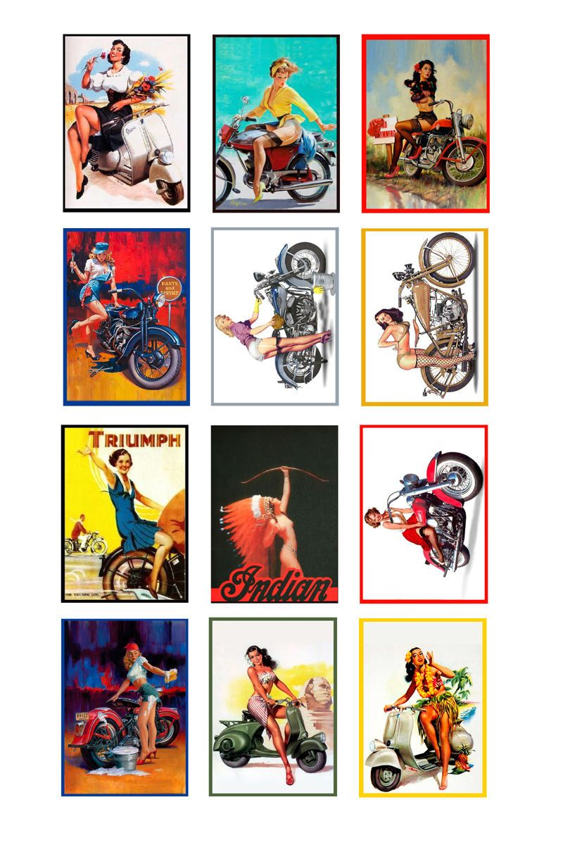 1:25 1:22 G scale model vintage motorcycle pin up posters