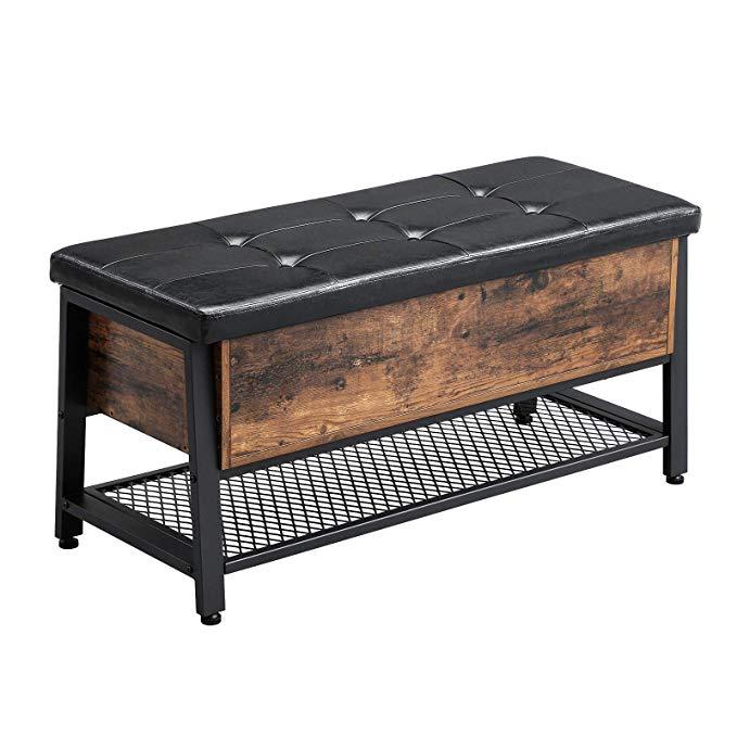 Amazon Com Vasagle Industrial Storage Bench Shoe Bench With