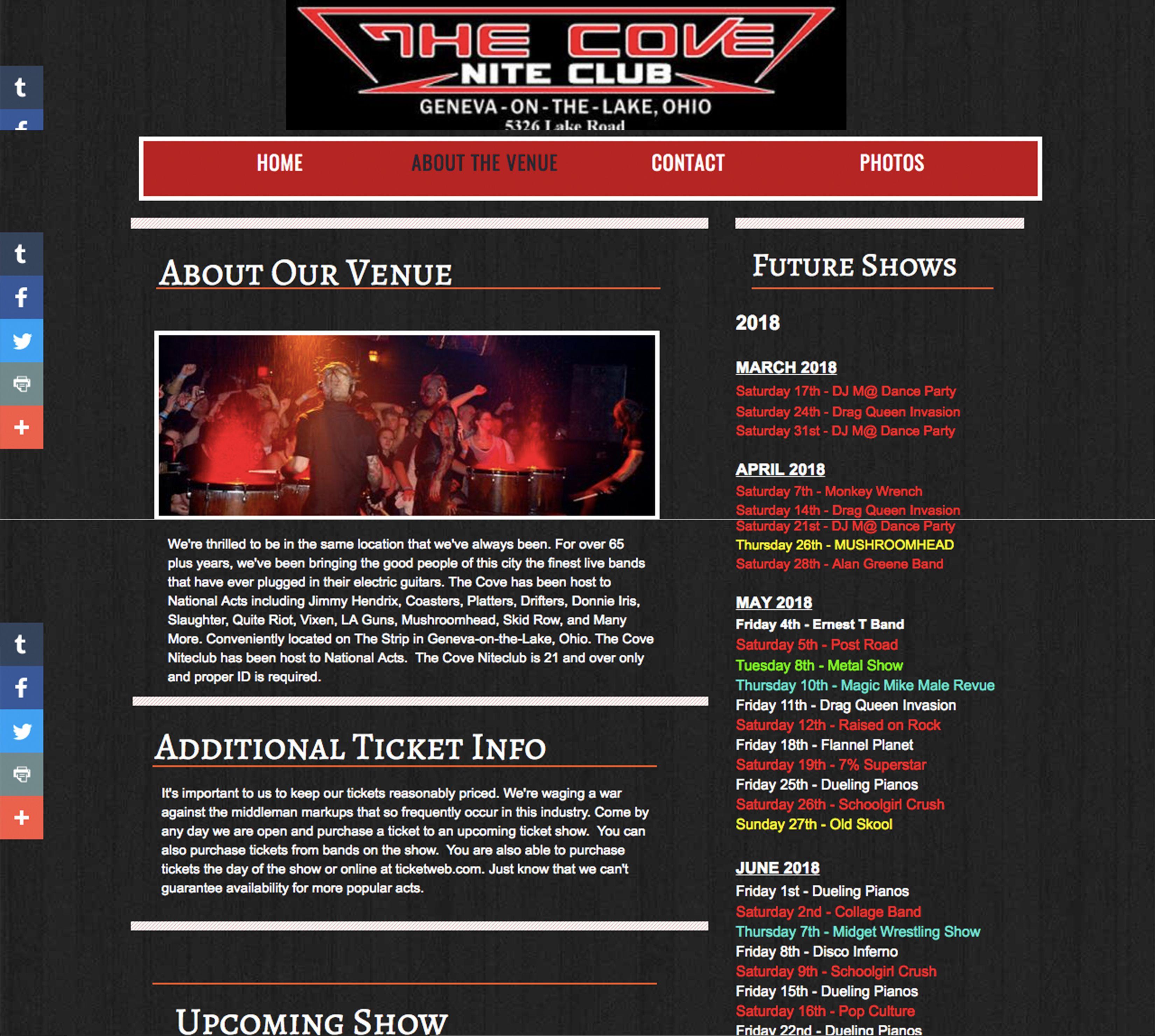 The Cove Nite Club Geneva Oh Events Web Page Web Anatomy Projct1