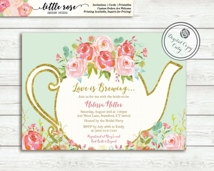 Beautiful Love Is Brewing Bridal Shower Invitation Garden Tea - bridal shower invitation samples