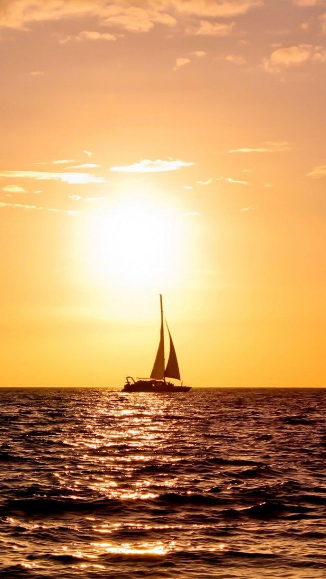 Sail Boat Sailing Sea Sunset Tall Ship Full HD Wallpaper Full HD