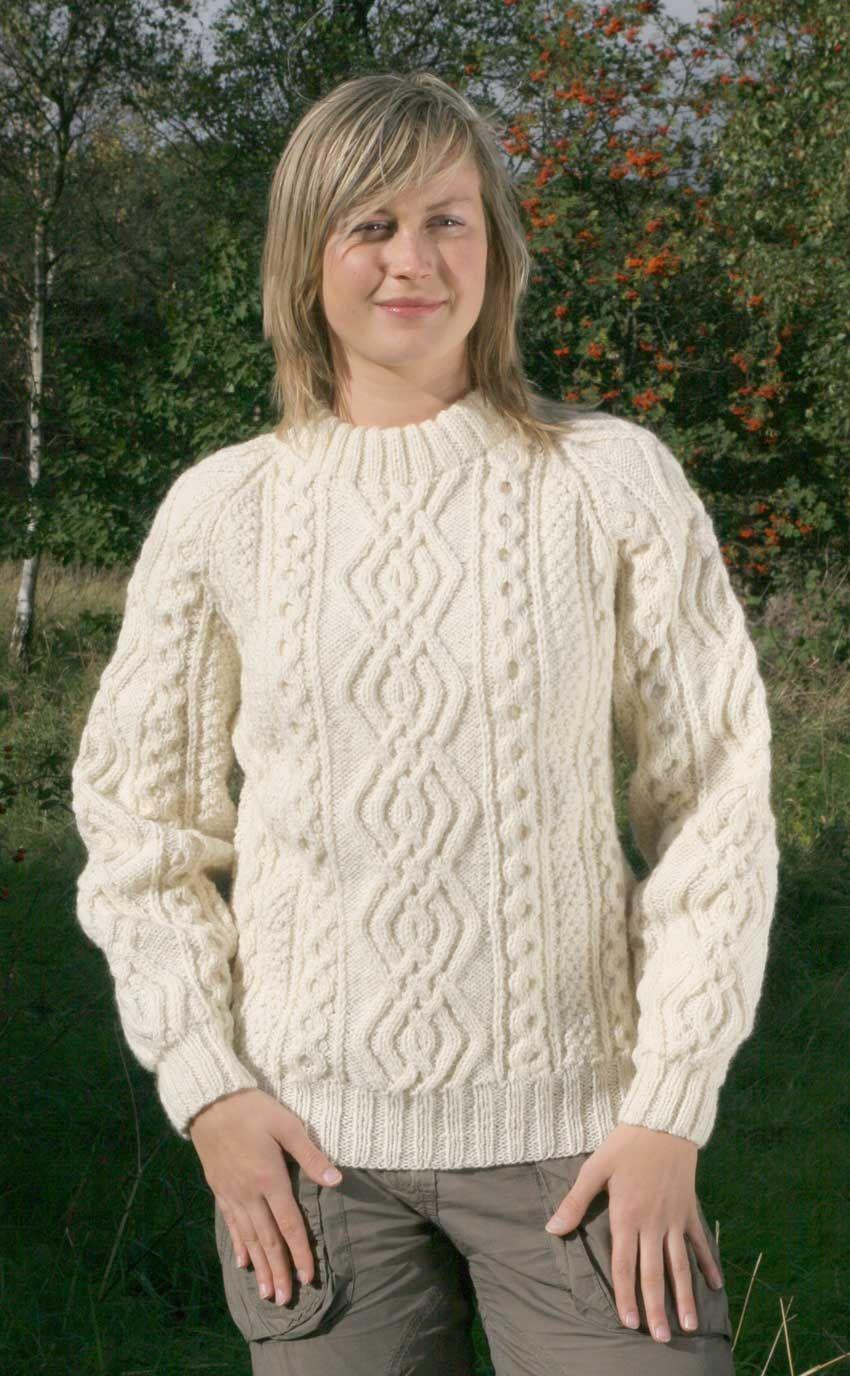 Luxury Hand-Knitted Aran Sweater, \