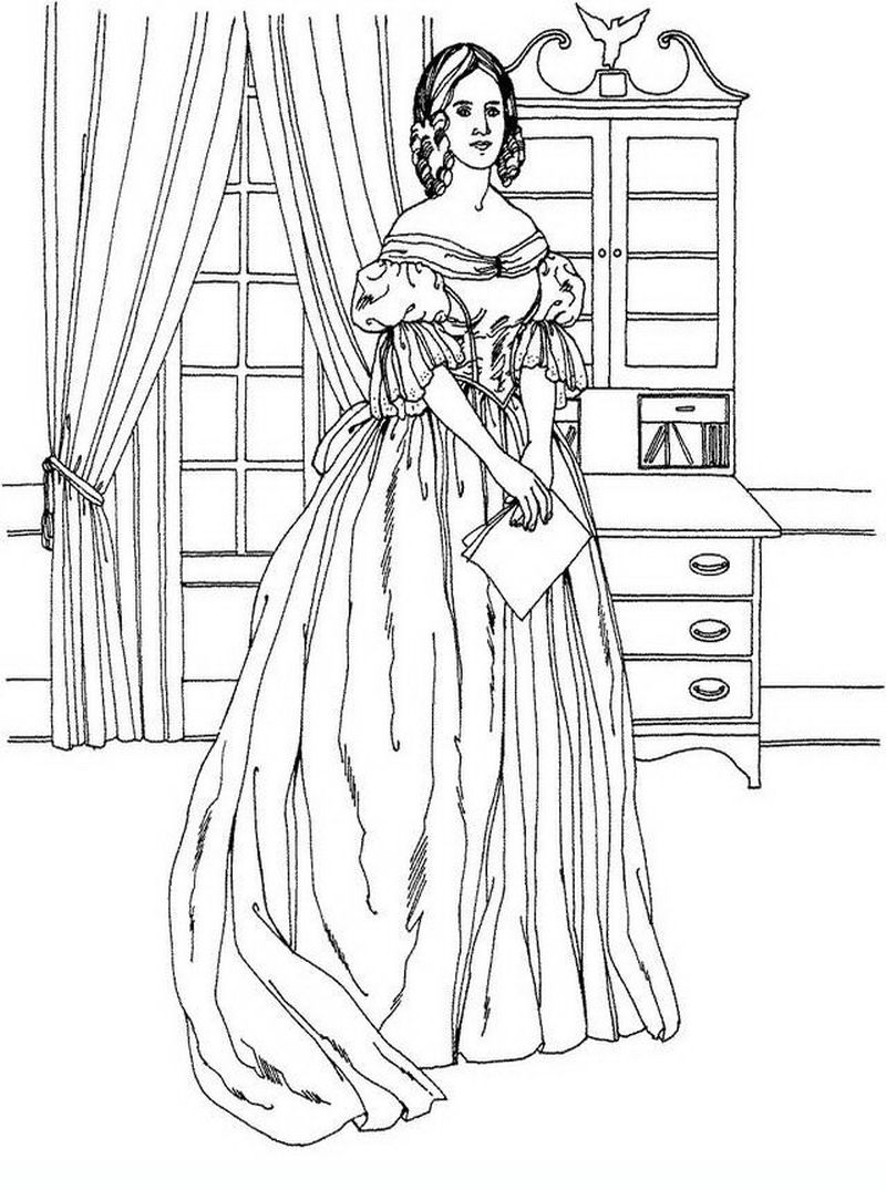 Victorian woman vintage fashion challenging coloring pages for