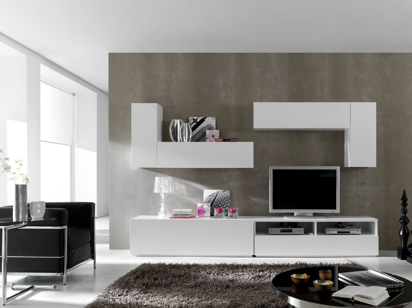 Meubles Tv Modulables 6 Elements Blanc Laque Mat Valencia Avec