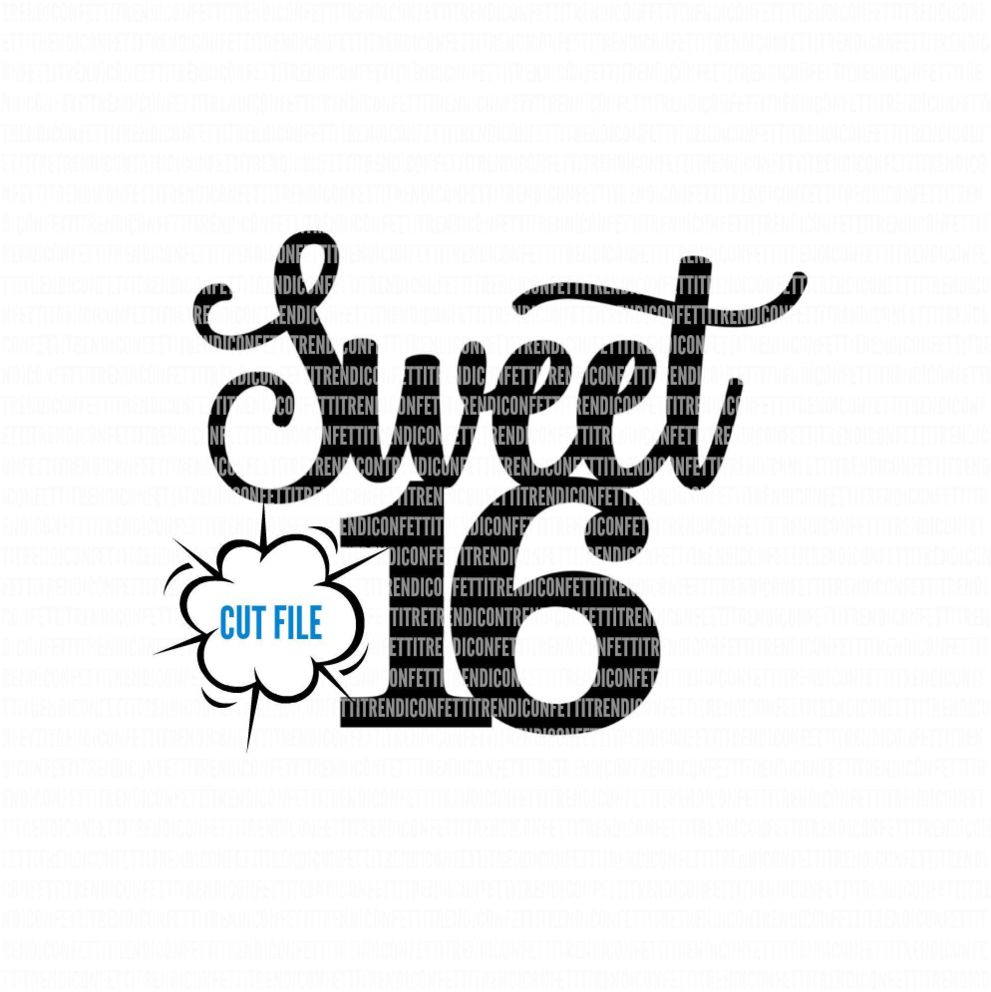 Sweet 16 Svg Birthday Svg Files Cake Topper Svg Birthday Svg For Cricut Sixteen Svg 16th Birthday Svg Svg Png Jpg Instant Download Svg Sweet 16 Cake Toppers
