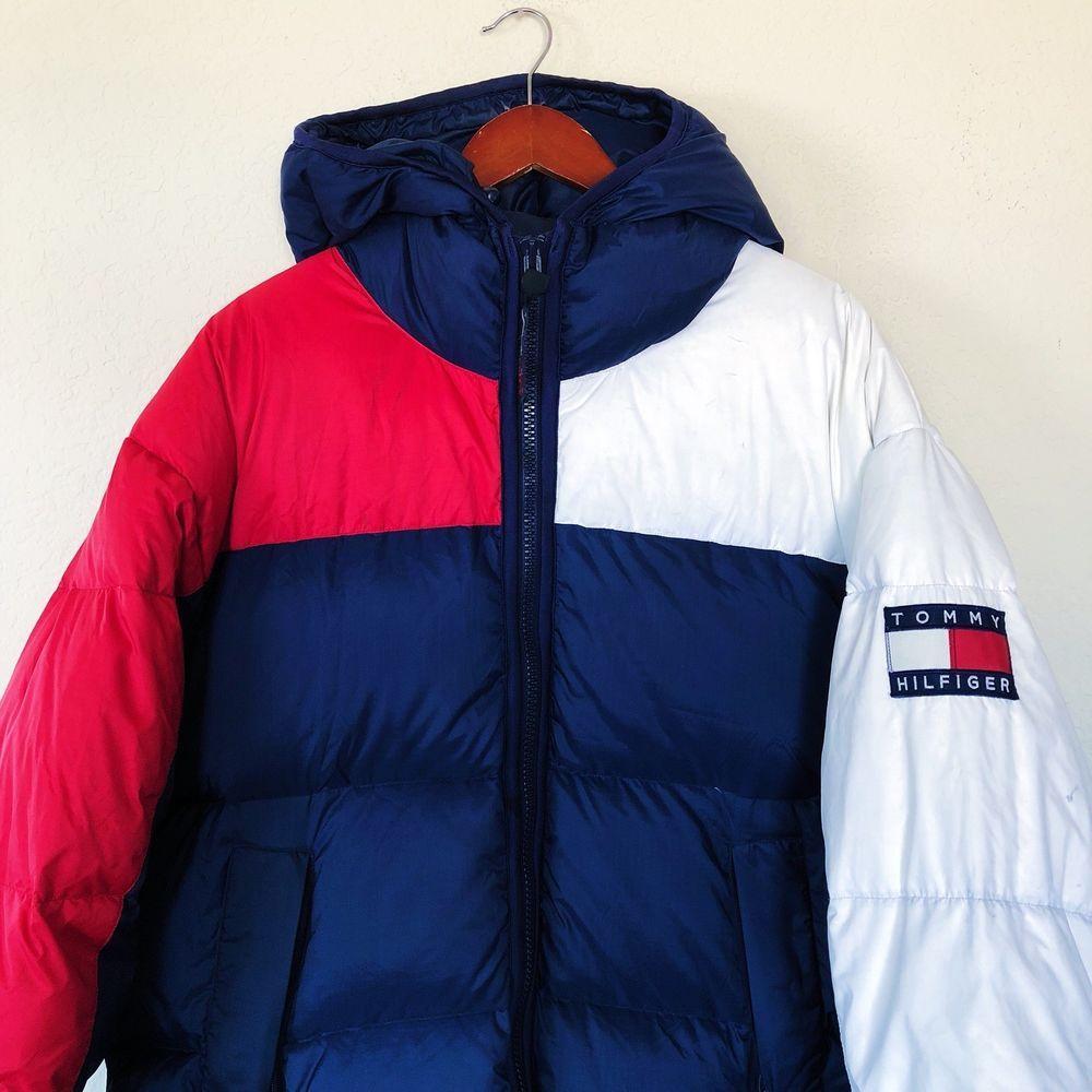 0581dd81c Vintage 90s Tommy Hilfiger Down Jacket Big Flag Logo Color Block ...