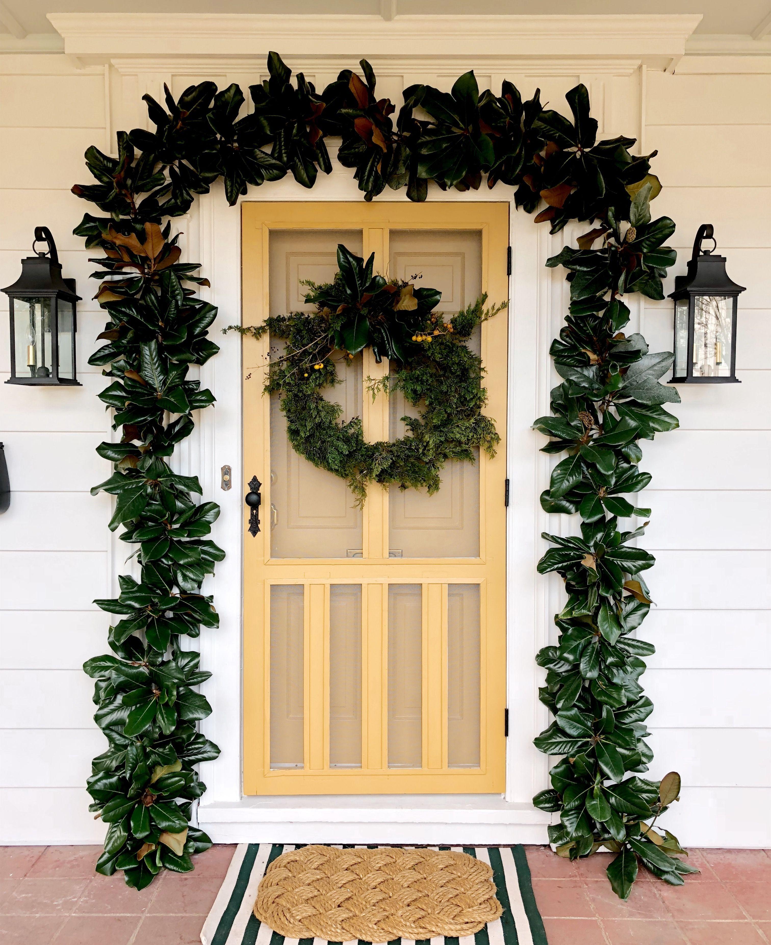 Magnolia Garland Holiday Front Door House 1924 Holiday Decor Magnolia Garland Hinkley Lighting