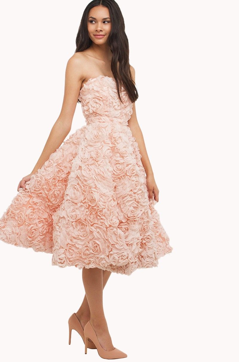 7aae8691fd31a Side view of AMMO Special Occasion strapless floral party dress in baby  Pink.