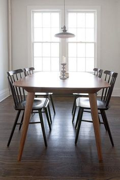 Table With DWR Salt Chairs Modern Shaker