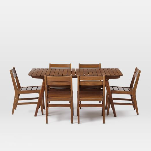 mid century outdoor dining sets auburn west elm outdoor space pinterest outdoor dining. Black Bedroom Furniture Sets. Home Design Ideas