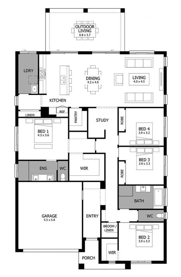 Single Story House Design Atrium Mojo Homes Homedesignsatriums Four Bedroom House Plans House Floor Plans Free House Design