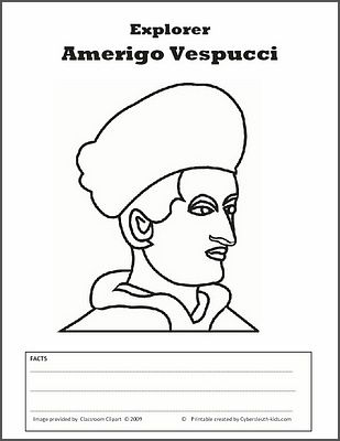 Vespucci Coloring Sheet With Images 5th Grade Social Studies