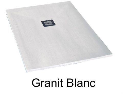 Receveur De Douche 120 Cm En Resine Mineral De Marbre Petit Et Grande Taille Extra Plat Granit Blanc