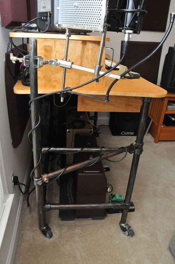 Rolling Recording Desk With Microphone Stand Desk Week Desk Recording Studio Desk Desk Makeover Diy