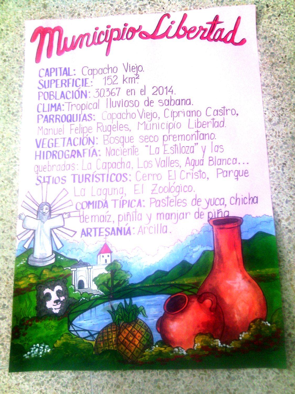 Lámina para exponer sobre el municipio Libertad, estado Táchira, Venezuela. #mismanualidades #misideas #mistrabajosescolares #misdibujos.