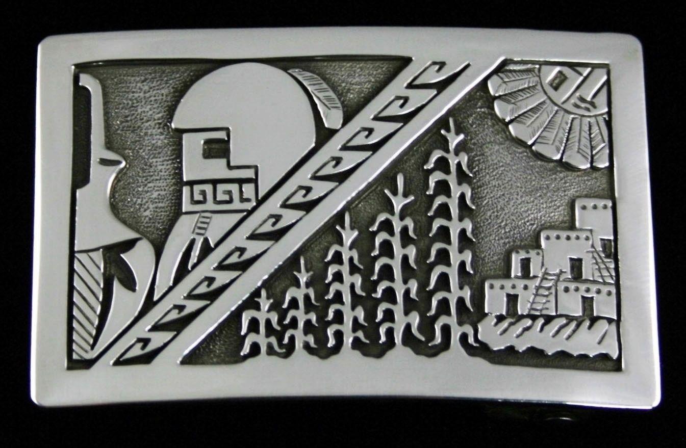 Vintage herman vandever longhair kachina design overlay belt buckle vintage buycottarizona Images