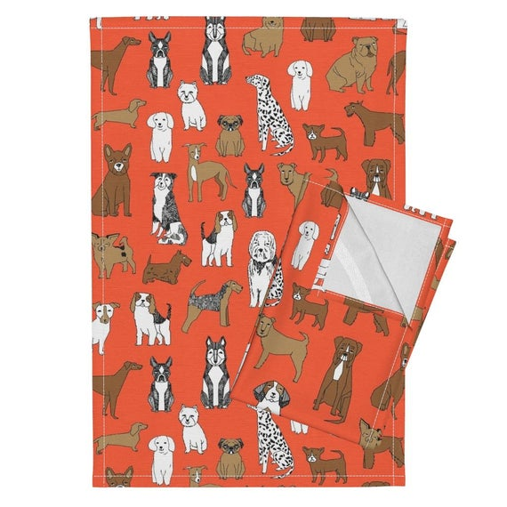 Dogs Tea Towels Set Of 2 Dogs By Andrea Lauren Pets Animal Orange Dog Breeds Nursery Bright Tea Towels Puppy Palace Pets