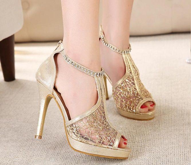 8dbda80453 Gold Colour Font Lace Open Toe Sandals For Women: Wrist Strap ...