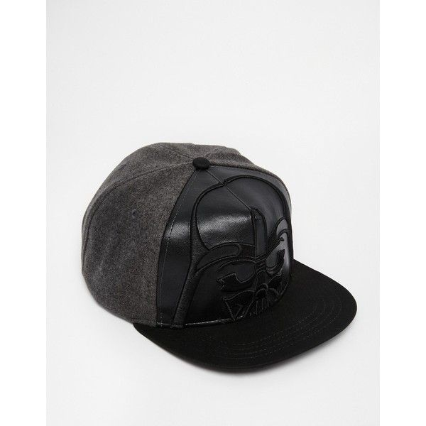 ASOS Star Wars Snapback Cap In Black Faux Leather (100 BRL) ❤ liked on Polyvore featuring accessories, hats, black hat, snapback hats, snapback cap, asos hats and cap snapback