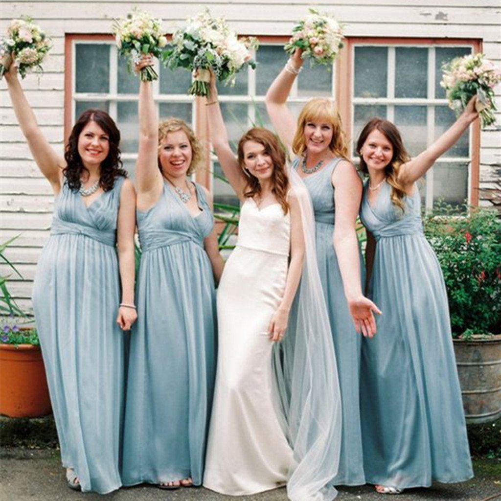 Wedding Party Long Blue V-Neck Modern Bridesmaid Dresses,Sleeveless ...