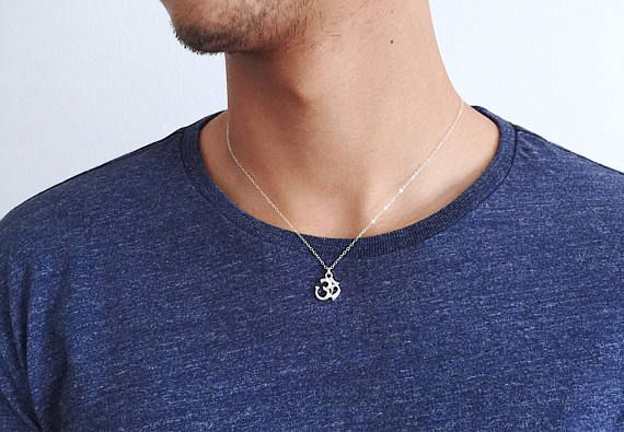 dc9347e543f58 Om necklace Mens, Sterling Silver Meditation Necklace, for Men, Yogi ...