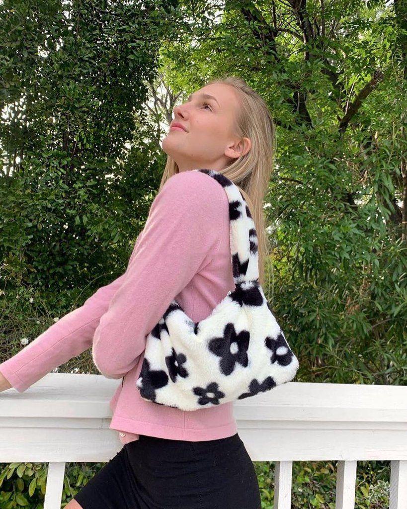 Flower Pattern Fur Plush Bag