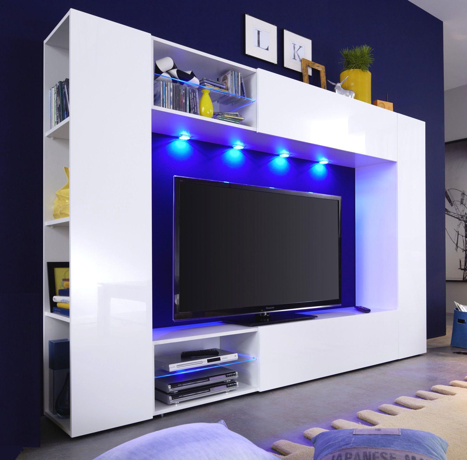 wohnwand mediawand weiss hochglanz fernsehschrank tv hifi medienwand