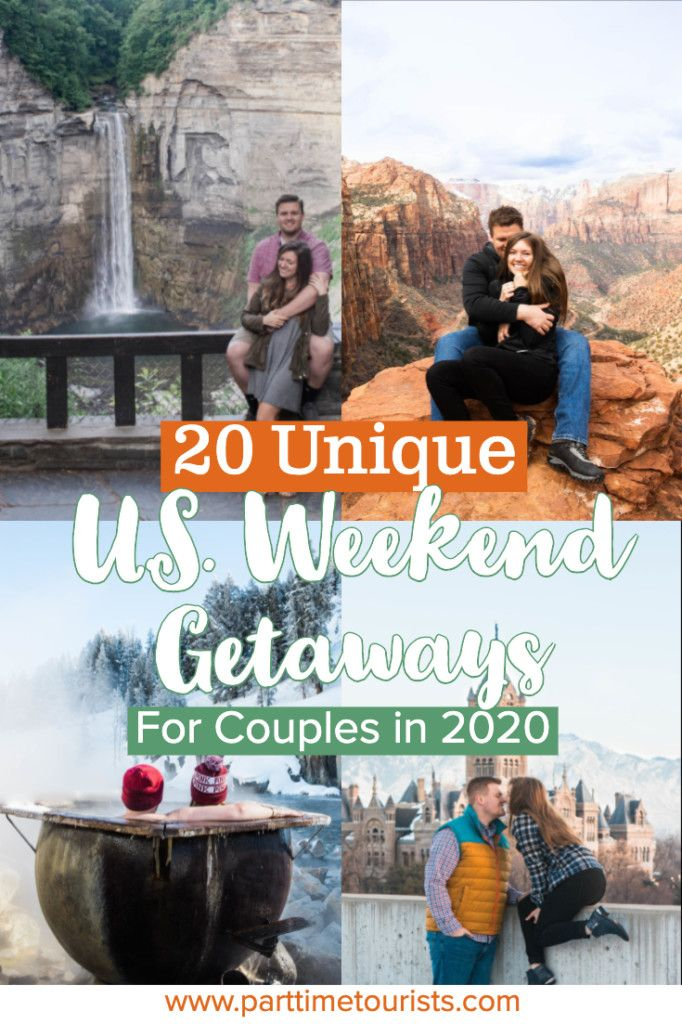 Here's a list of the best U.S. weekend getaways ideas for couples! These include romantic getaways for couples, adventurous weekend trips in the united states, weekend trips for couples, and weekend trips in the u.s. I love this list, can't wait to put these on my bucket list! #weekendgetaway #weekendtrip #coupletrip #ustrip#ustripforcouples