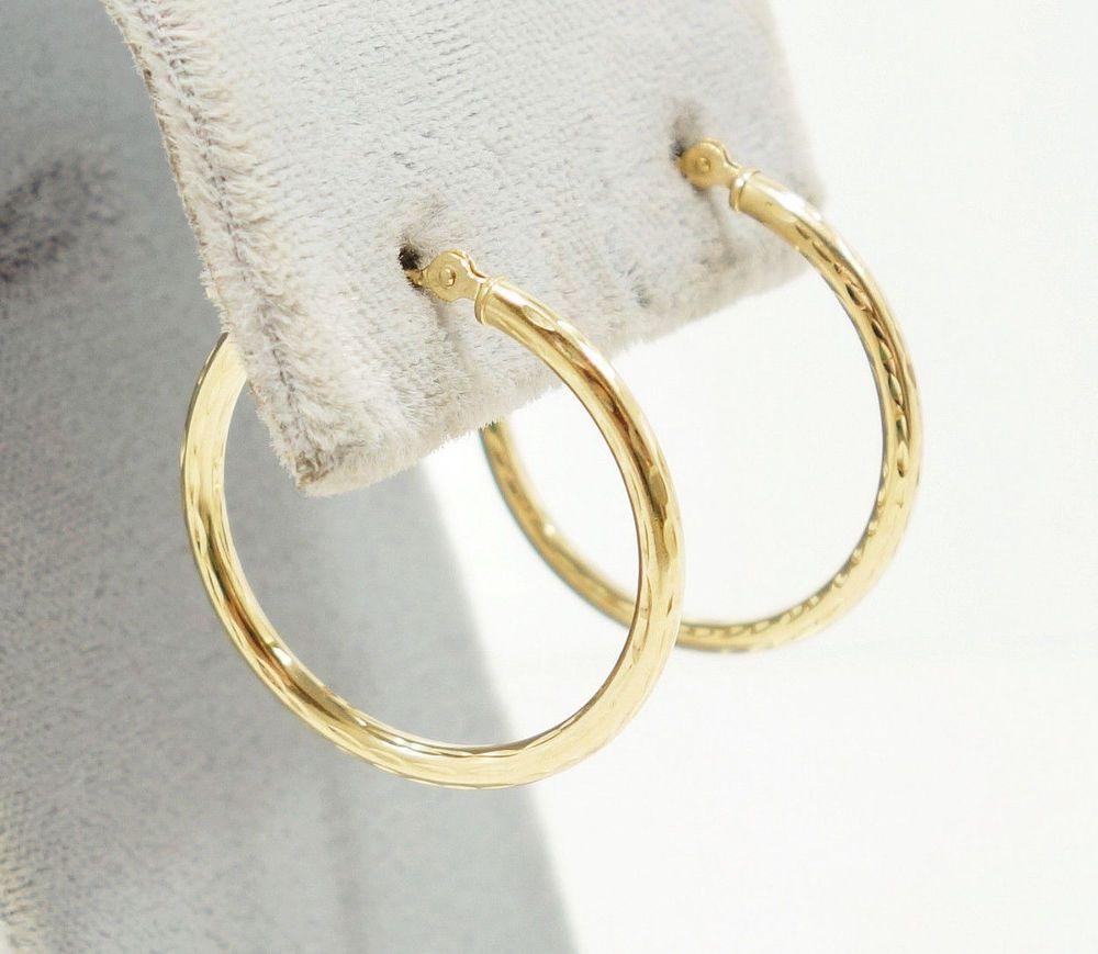 83cef8bc092ee 10k Solid Gold Hoop Earrings Classic Design Stunning Diamond Cut ...