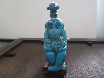 Vintage Chinese Hand Carved Turquoise Color Monkey Sitting Snuff Bottle