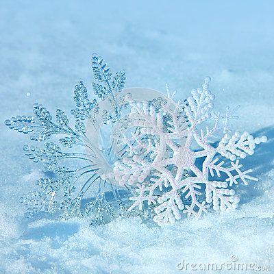 Christmas snowflakes on snow