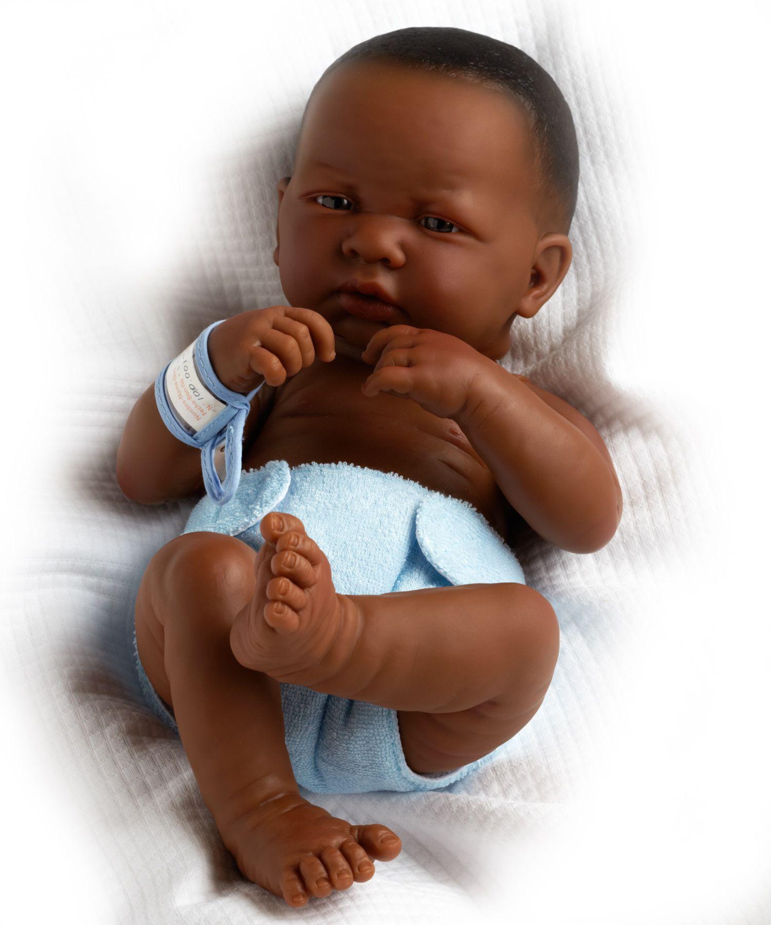 Black Doll La Newborn Real Boy(African American) 18506
