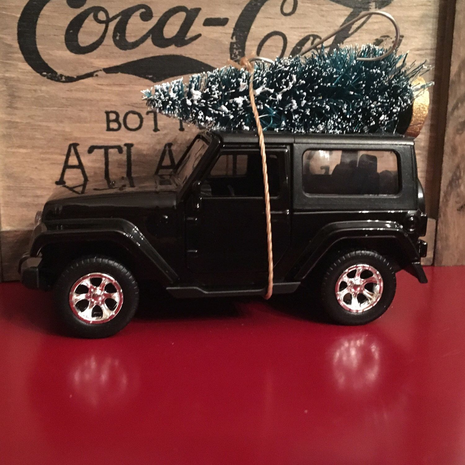 Jeep Christmas Ornament.Black Jeep Wrangler Carrying Christmas Tree Ornament Black