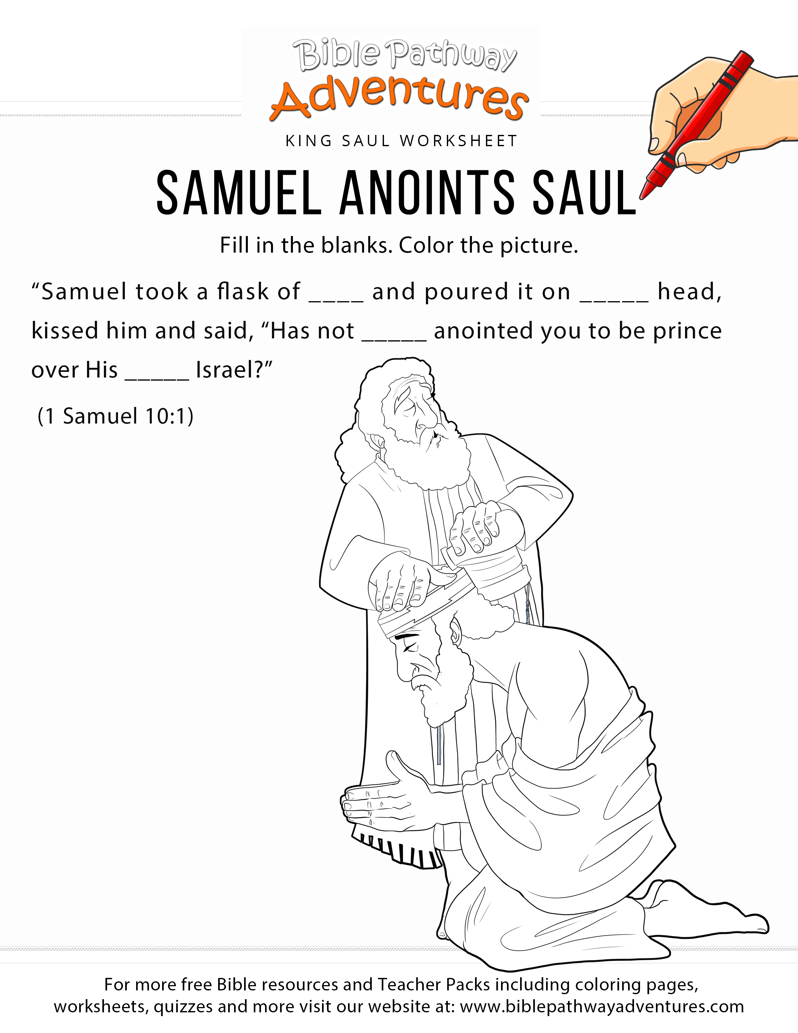 Samuel anoints saul bible worksheet and coloring page printable king saul lesson for homeschoolers sunday school and sabbath school students