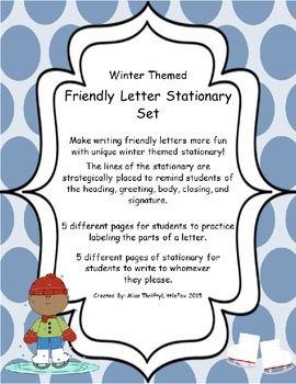 winter friendly letter stationary set classroom ideas pinterest